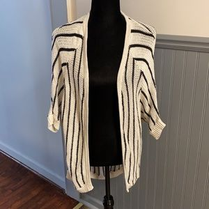 AEO Striped Loose Knit Open Front Cardigan